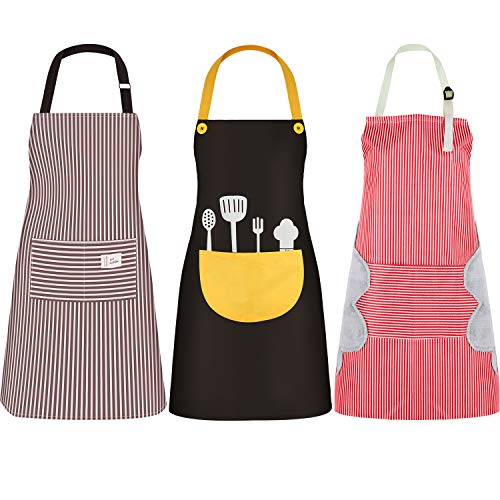 SATINIOR 3 Piezas Delantales de Mujeres con Bolsillo Delantal de Cocina Vintage Adorable Delantal para Navidad Día de Acción de Gracias (Conjunto de Colores 6, Conjunto de Tallas 6)