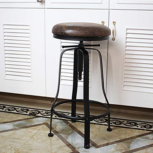 ZRN Taburete de Bar Industrial Vintage, Giratorio Ajustable en Altura, Asiento de Cuero de Metal, Cocina, Taburete de Desayuno, Silla