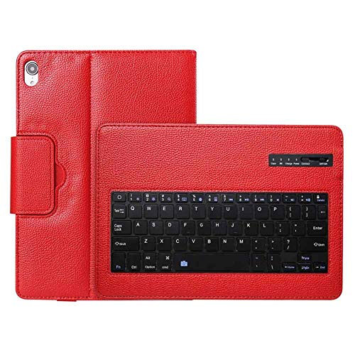 RZL PAD & TAB cases For Apple iPad Pro 11 inch, PU Leather Wireless Keyboard Protective Case Cover Shockproof Flip Back Stand Tablet Cover for Apple iPad Pro 11 inch (Color : Red)