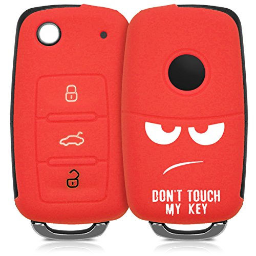 kwmobile Autoschlüssel Hülle kompatibel mit VW Skoda Seat 3-Tasten Autoschlüssel - Silikon Schutzhülle Schlüsselhülle Cover Don't Touch My Key Weiß Rot