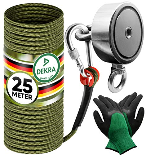 Jungle Monkey Premium Magnetangel Set - 250KG Zugkraft DEKRA geprüft - Magnetfischen Komplettset inkl. 25m Seil + wasserfeste Handschuhe für Magnet fischen