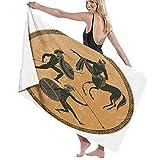AIMILUX Toalla de Playa,Soldado Ánfora Mitología Griega Antigua Grecia Escena Figura Negra Cerámica Estilo clásico Dioses Héroe Roma,Toallas de Baño Toallas de Acampada Piscina Natación Playa Ducha