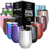 Stainless Steel Wine Glass Tumbler with Lid, 12 oz Double Wall Vacuum Insulated Travel Tumbler Cup, Coffee Water Bottle Cup (Shimmer: Unicorn Magic)