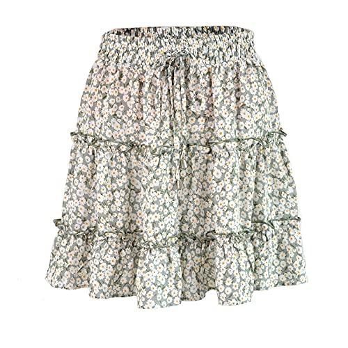 CRMY Minifalda de Mujer Falda Floral Falda Floral de Verano Volantes Acampanados Boho Una línea Falda Corta de Playa Falda Corta Informal