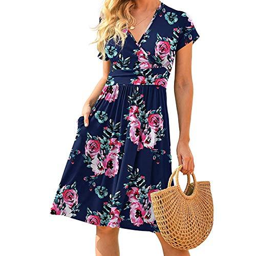 Vestido De Verano Para Las Mujeres Vestido De Playa Más El Tamaño Vestido Para Las Mujeres Boho Maxi Vestido Azul Oscuro L