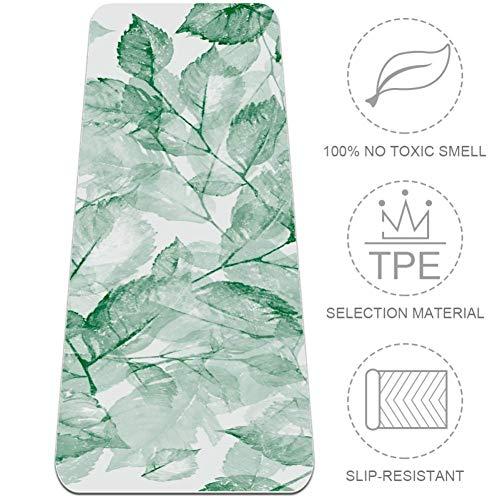 BestIdeas TPE-Yogamatte, Aquarell, grüne Blätter, Decke für Yoga, Pilates, Bodenübungen, umweltfreundlich, rutschfestes Design, Aquarell grüne Blätter, m