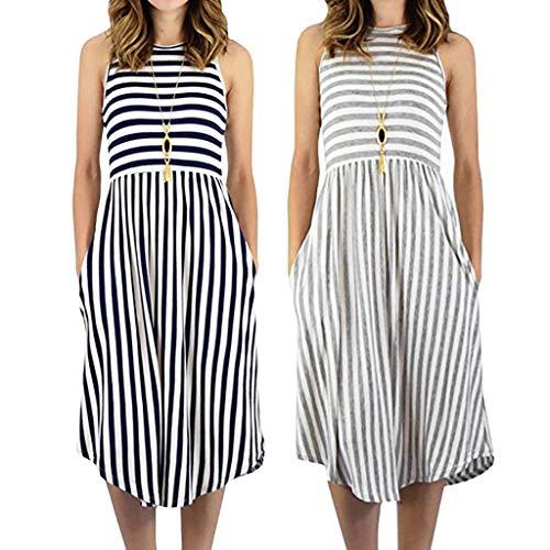 VJGOAL dames jurken zomer elegant grote maten strandjurk losse mouwloos strepen tas ronde hals jurk voor vrouwen