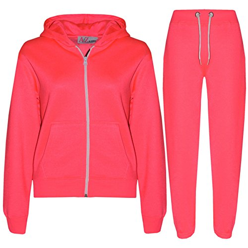 A2Z 4 Kids® Kinder Mädchen Jungen einfarbig Trainingsanzug Kapuzenpullover - T.S Plain Neon Pink 3-4