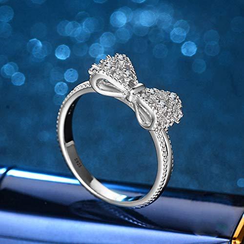 CTDMMJ Sparkling Zirconia Crystal Bowknot Anillos de Boda Rellenos de Color Plata para Mujer Anillo de Compromiso