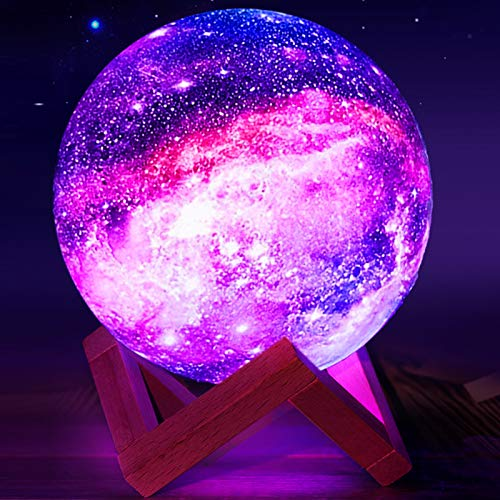 Moon Lamp,Eguled 5.9 inches Star Night Light for Kids Galaxy 16 Colors LED Moon Light with Stand Remote Touch Control and USB Rechargeable Cool Gift for Women Baby Kids Birthday Bedroom Home Decor