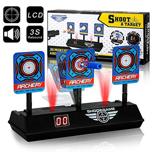 swonuk Objetivos de Tiro Eléctrico, Reinicio Automático, Tablero de Puntuación con Pantalla LCD Efecto de Sonido de Luz, para Nerf Guns Blaster Elite/Mega/Rival Series (Negro)