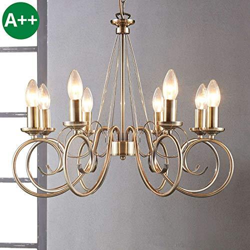 Lindby Kronleuchter 'Marnia' dimmbar (Retro, Vintage, Antik) in Bronze aus Metall u.a. für Wohnzimmer & Esszimmer (8 flammig, E14, A++) - Pendelleuchte, Hängelampe, Lüster, Lampe, Deckenleuchte