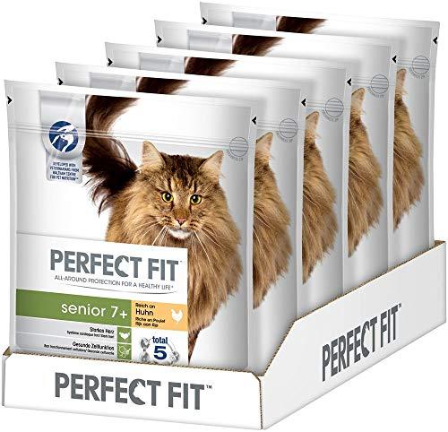 Perfect Fit Katzenfutter Trockenfutter Senior 7+ Reich an Huhn, 5 Beutel (5 x 750g)