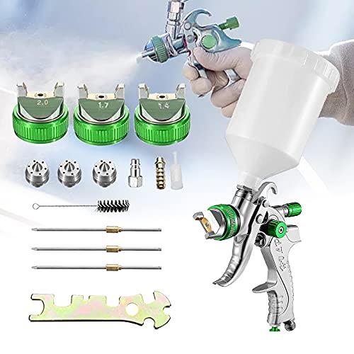 HVLP Lackierpistole Spritzpistole, SEAAN Professionelle Hochdruck-Farbspritzpistole Druckluft Spritzpistole 3 Düsen (1,4/1,7 //2,0 mm), 600 cc Becher (Grün)