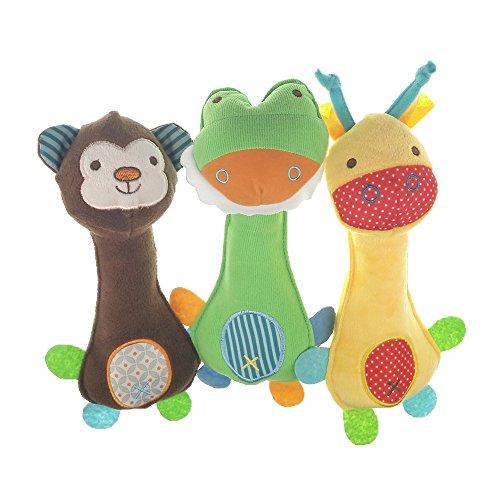 MUROAD 3 Piezas Juguetes con Sonido para Perros, Juguete de Peluche para Perros Juguetes interactivos, Juguetes para morder para Cachorros pequeños y medianos