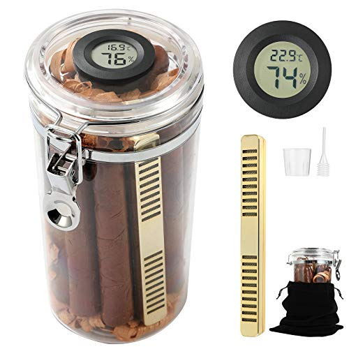Acrylic Cigar Humidor Jar/Case/Box with Handmade Spanish Cedar Rolls,Humidifier for Humidity Control and Digital Hygrometer,Humidor That can Hold About 10-15 Cigars