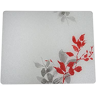 Corelle Kyoto Leaves 15 X 12 inch Counter Saver Tempered Glass Cutting Board, 91512KYOH