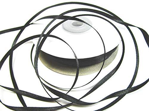 CaPiSo® 100m Satinband 3mm Schleifenband,Geschenkband,Dekoband,Satin Hochzeit,Weihnachten (Schwarz, 100m 3mm)