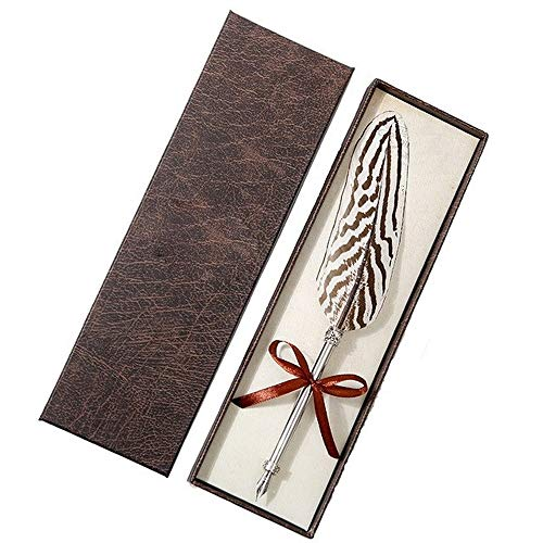 Pen Antieke Feather kroontjespen 23 Styles luxe doos gesneden Verjaardag Christmas Metal Ink Vulpen Wedding Beautiful Gifts (Color : Gift box V, Size : Free)