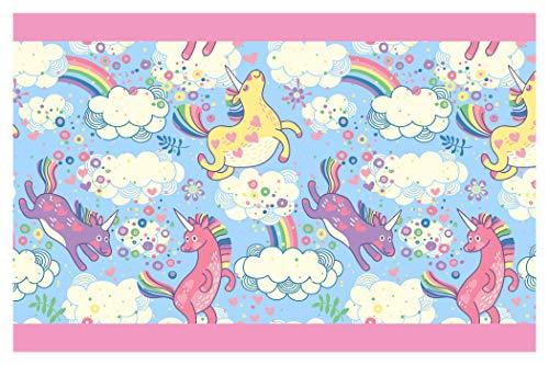 I-love-Wandtattoo Cenefa Autoadhesivo Unicornios de Colores con el Arco Iris Niñas Habitación Art