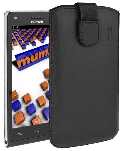 mumbi Echt Ledertasche kompatibel mit Huawei Ascend P7 Mini Hülle Leder Tasche Hülle Wallet, Schwarz