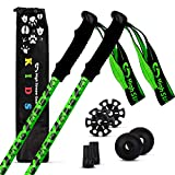 High Stream Gear Kids Trekking Poles – Collapsible Telescopic Brightly Colored Walking Sticks for Children – Includes Carrier Bag and Accessories (Green)