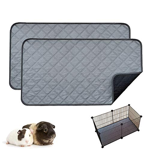 RIOUSSI Guinea Pig Fleece Cage Liners, Highly AbsorbentWashable Guinea Pig Bedding for Midwest and C&C Guinea Pig Cages with Leak-Proof Bottom.CC 2X1, Light Gray, 2 Pack.