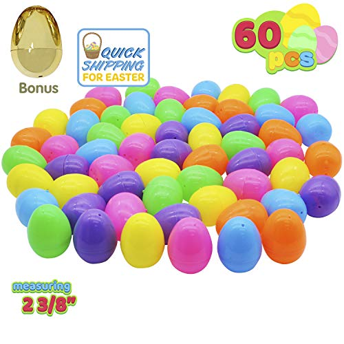 Lowest Price! 60 Pieces 2 ⅜ Easter Eggs Include 1 Golden Egg for Filling Specific Treats, Easter ...