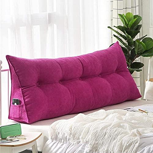 HZYDD - Cuscino di supporto per divano letto, grande cuscino triangolare a cuneo, con rivestimento rimovibile, morbido cuscino da lettura per la casa rosso 60 x 20 x 50 cm