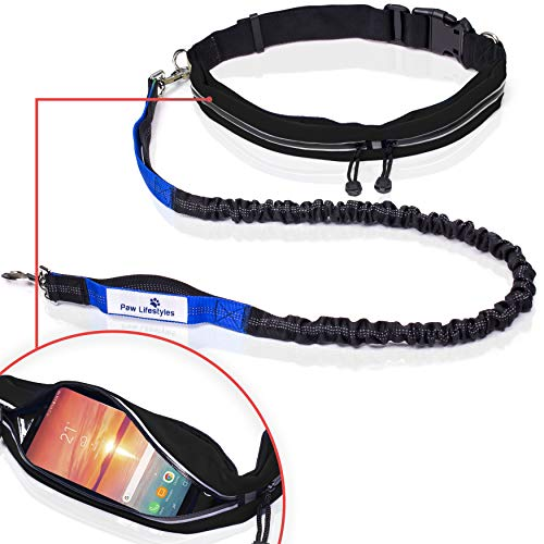 Paw Lifestyles Retractable Hands Free Dog Leash W/Smartphone Pouch – Dual Handle Bungee Waist Leash for Up to 150 lbs Large Dogs (Black - Blue w/Smartphone Pouch)