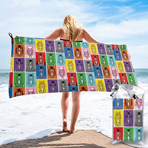 Yuanmeiju - Toalla de secado rápido Boja CK Hors Eman Microfiber Quick Drying Beach TowelSuper Absorbent Towel Sand Free Towel for Unisex Travel Gym Camping Pool Yoga Outdoor