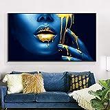 Pintura de labios azules y dorados sobre lienzo, carteles e impresiones artísticos de maquillaje de belleza, imagen artística de pared para decoración de sala de estar, 40X80cm sin marco