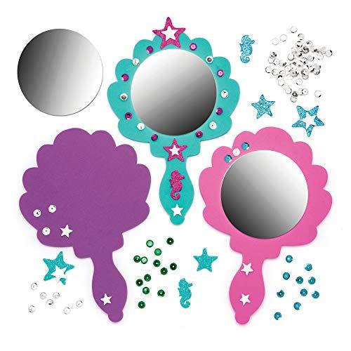 Baker Ross- Decora tu propio espejo de madera de mano de sirena (Pack de 4)-Manualidades con espejo para que los niños decoren y personalicen