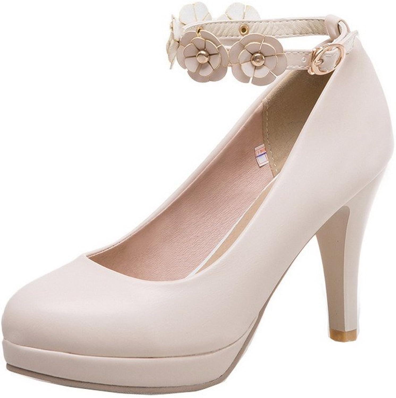 WeenFashion Women's High-Heels Microfibre Solid Buckle Pumps-shoes