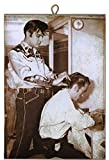Cuadro de estilo vintage Elvis Presley corta el cabello en Johnny Cash de colección impresión sobre madera – Idea regalo