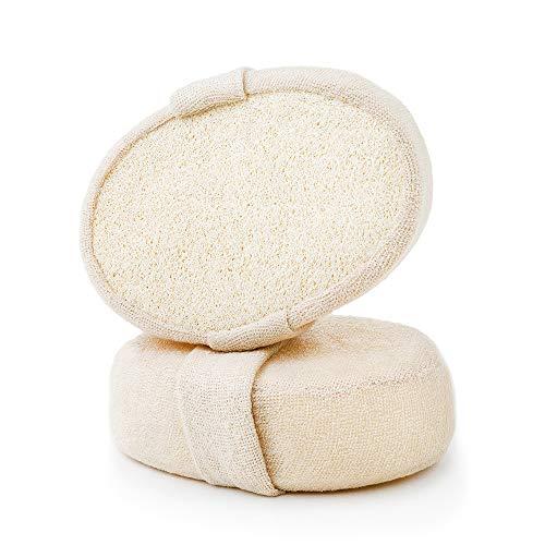 TAECOOOL Peeling Luffa-Rückenwäscher, 2 Packungen 100% natürlicher Luffa-Schwamm-Duschkörper-Scruber für Männer/Frauen Bad Spa und Dusche , Verdickte Größe 14,5 cm x 10 cm x 5 cm