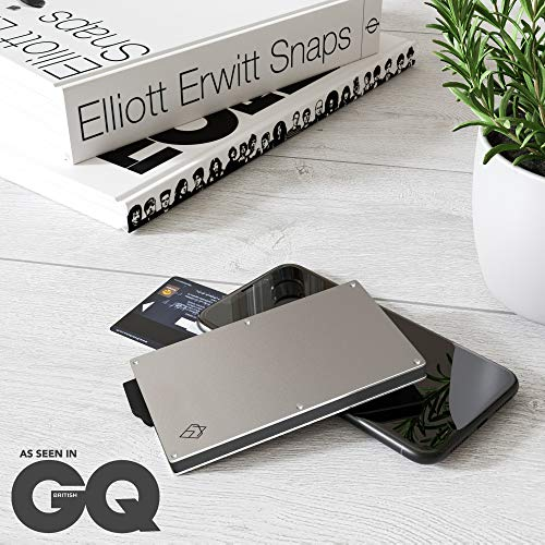 AKIELO RFID Blocking Card Holder with Money Clip and Gift Box – Minimalist Mens Card Wallet and Contactless Credit Card Protector (Alpha Collection)