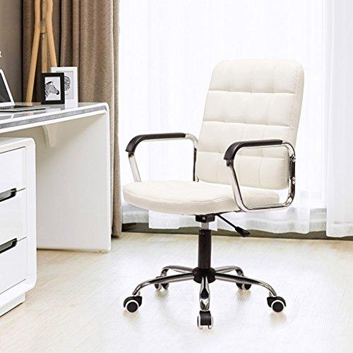 Schreibtischstühle Pulley Füße kann gedreht Bürostuhl Leder Rückenlehne Sessellift 56 * 56 * 99cm (Color : Weiß)