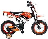 .Volare Vélo Enfants Garçon 12 Pouces Motobike Frein Avant sur Le Guidon Frein Arrière à Rétropédalage Roues de Stabilisation Orange Assemblé à 95%