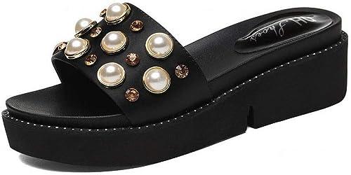 LTN Ltd - sandals Les Sandales Compensées en Strass Et Les Pantoufles des Femmes Portent des Pantoufles D'été à Semelles épaisses Ainsi Que des Chaussures Populaires pour Femmes, Noir, 40