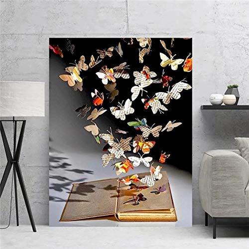 WACZJ Pittura su Tela Decorazioni per la casa su Tela Farfalle sulla Parete del Libro Arte Astratta sulla Pittura Immagini Stampa Opera d'Arte Poster per Soggiorno Regalo di Compleanno