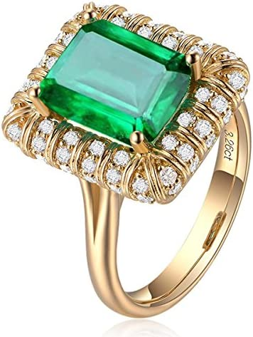 Vintage Women 18K Gold Rectangle Green Simulated Emerald Gemstone Crystal Band Rings Jewelry product image