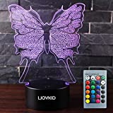 3D Led Night Light Lamps - Optical Illusion 7 Colors Touch Table Desk Visual Lamp with Remote Control for Gifts for Children Kids (Butterfly2)