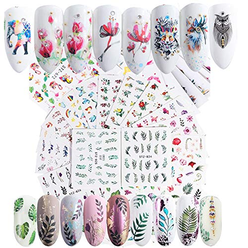 59 Blatt Nagel Sticker selbstklebende Aufkleber Fingernagel Nagelsticker Blumen Wassertransfer Nagel Nageldesign Abziehbilder nail Decals DIY Nail Art Dekoration (Tier Wassertransfer)