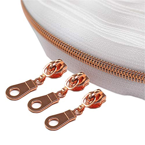 YaHoGa #5 Rose Gold Metallic Nylon Coil Zippers by The Yard Bulk White Tape 10 Yards with 25pcs Sliders for DIY Sewing Tailor Craft Bag (White)