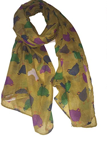 Pamper Yourself Now Senf mit verschiedenen farbigen Huhn/Henne Design langer Schall -Mustard with different coloured chicken/hen design long scarf