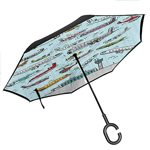 Self Stand Upside Down with C-Shaped Handle PYFXSALA Make A Unique Pattern Design Windproof Inverted Umbrella Double Layer UV Protection Folding Reverse Umbrella for Car Rain Outdoor