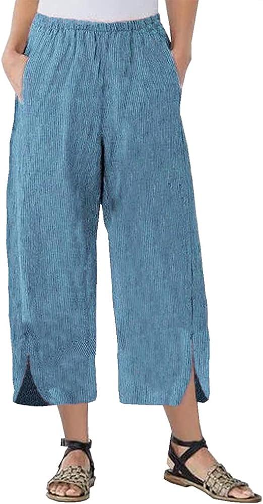Womens Baggy Linen Wide Leg Pants Casual Elastic Waist Split Hem Capris Trousers with Pockets