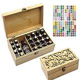 Gracelaza Caja de Bambú de Almacenamiento de Aceite Esencial de 25 Ranuras - Almacenamiento 5 a 15 ml de Botellas de Aceites Esenciales y Perfume Incluido #A