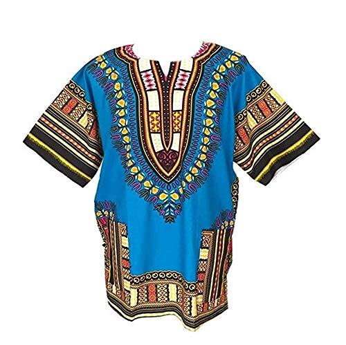 Blusas Dashiki africanas Unisex, Manga Corta, con impresión Tradicional Africana, para Verano (Sky Blue)